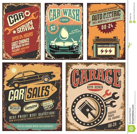 vintage car auto vehicle metal panel sign tin art wall vintage car service metal signs and posters stock vector