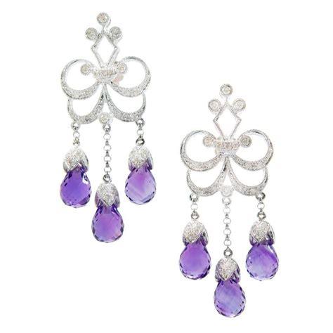 amethyst gold chandelier dangle earrings for sale