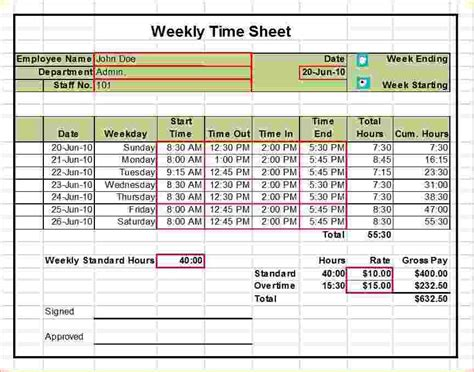 Excel Time Sheet Template by Excel Timesheet Template With Formulas Template Design