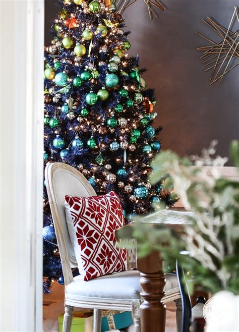 navy blue cheistmas dcorations stylin home tours cuckoo4design