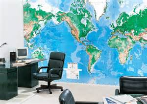 Wall Map Murals World Map Wall Mural 2016 Grasscloth Wallpaper