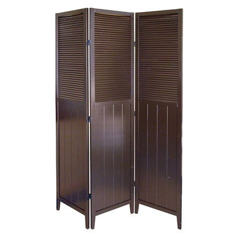 panel room dividers home decorators collection 5 83 ft espresso 3 panel room divider r5421 the home depot