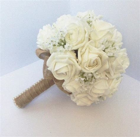wedding bouquet shabby chic rustic white rose and babies