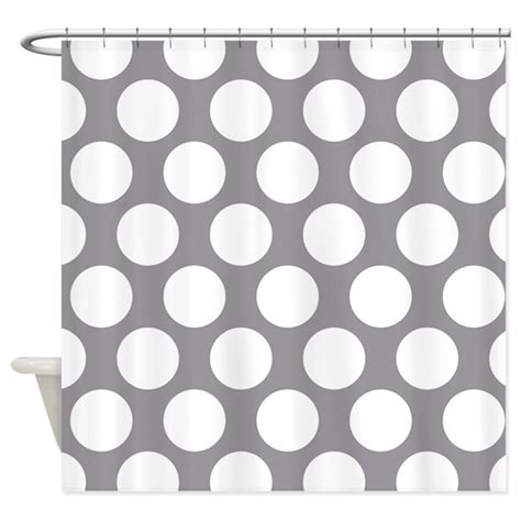 grey and white polka dot curtains pebble grey polkadot shower curtain by zandiepantshomedecor