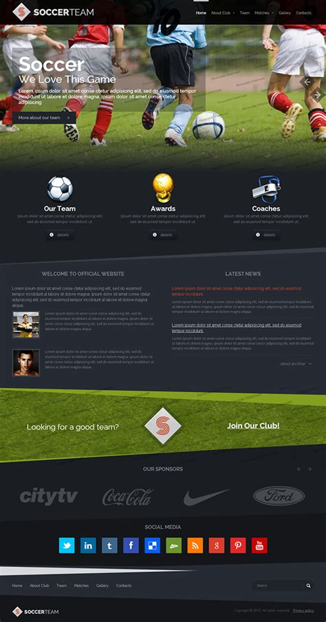 soccer html template soccer team club bootstrap html template on behance