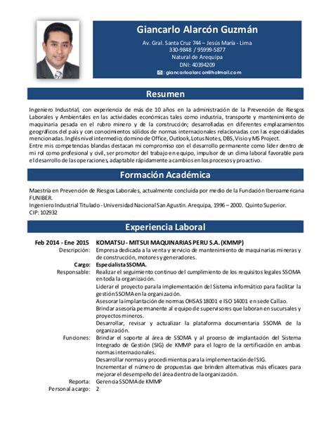 Modelo Curriculum Peru 2015 Formato De Curriculum Vitae Peru 2016 Newhairstylesformen2014