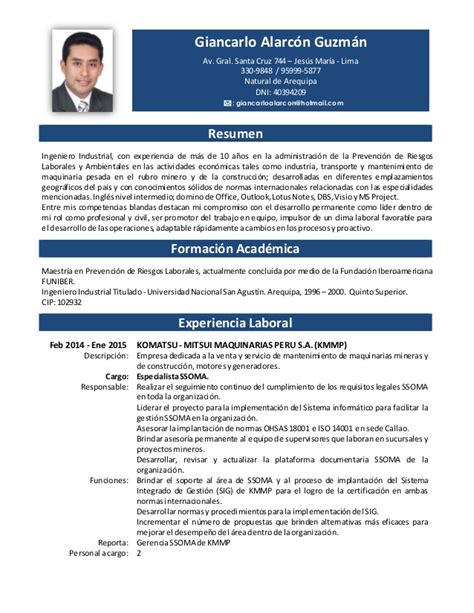 Modelo Curriculum Vitae Higienista Dental cv giancarlo alarcon 2015