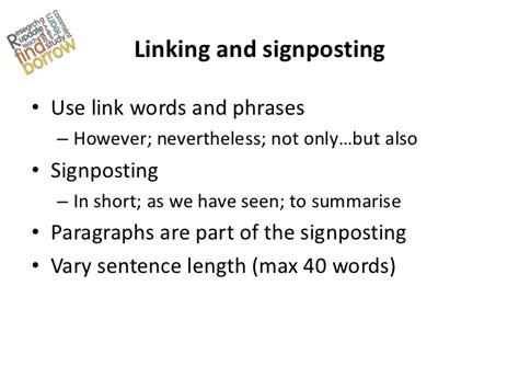 Signposting In Essays by Essay Writing Workshop Sept2012