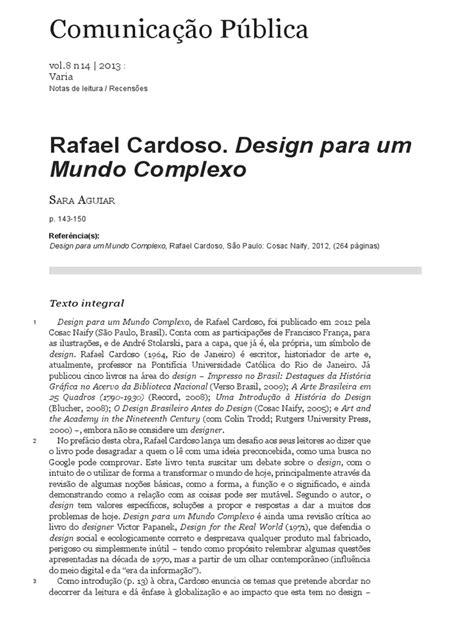 Rafael Cardoso. Design Para Um Mundo Complexo | Design | Tempo