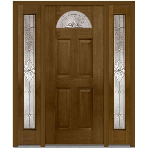 Exterior Doors With Sidelites Mmi Door 60 In X 80 In Heirloom Master Left 1 4 Lite Classic Stained Fiberglass Mahogany