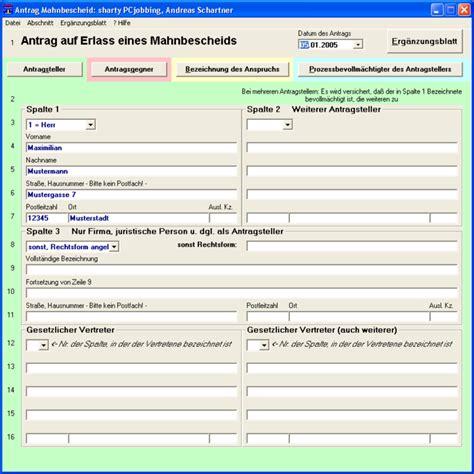 Muster Tätigkeitsnachweis Formular antrag f 252 r einen mahnbescheid freeware de