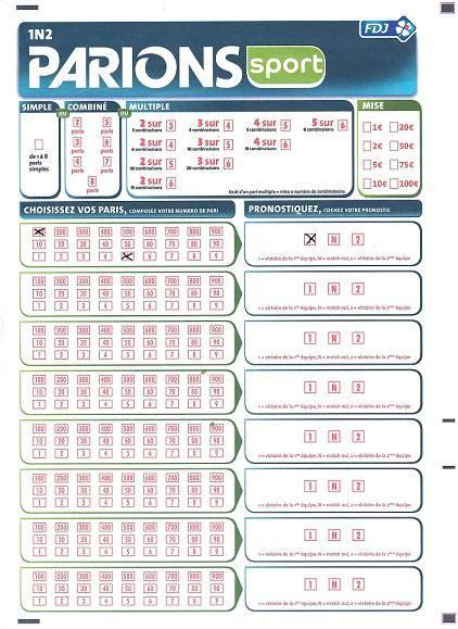 Grille Loto Foot Imprimer by Parions Sport Match Et 1n2