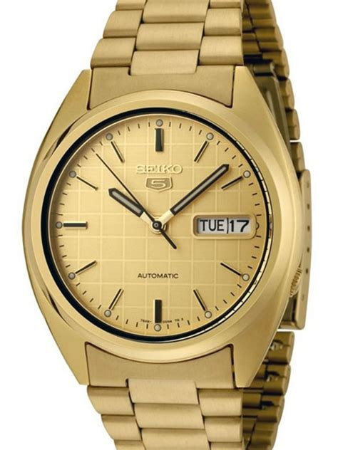 Seiko 5 Automatic Watch with Goldtone Case and Bracelet #SNXL72