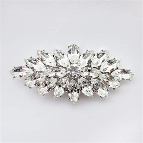 Rhinestone Clear rhodium silver clear marquis rhinestone vintage brooch