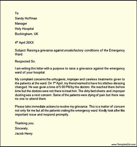 Response Grievance Letter Grievance Letter Templatezet