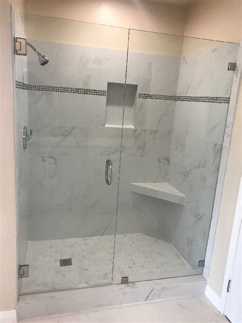 Installation Of Shower Doors Shower Door With Brushed Nickel Patriot Glass And Mirror San Diego Ca