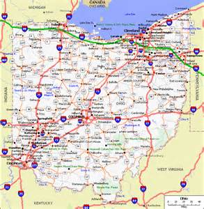 county map with roads ohio road and county maps