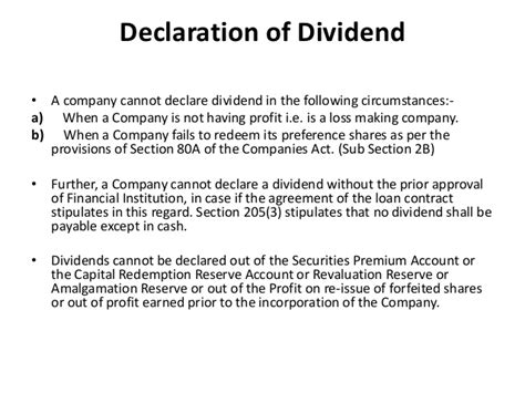 section 205 of the companies act dividend company law