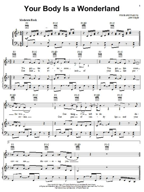 comfortable john mayer chords your body is a wonderland sheet music direct