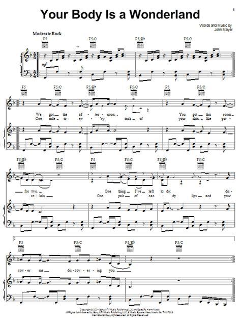 john mayer comfortable tab your body is a wonderland sheet music direct