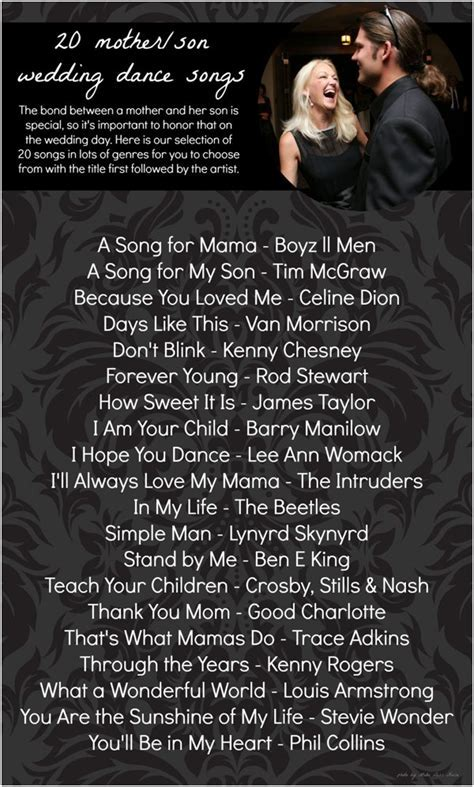 20 Mother Son Dance Song Ideas » Hill City Bride