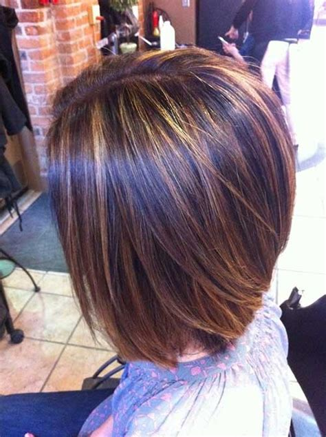 bob hair lowlights red gold brown and blonde highlights with a stacked bob