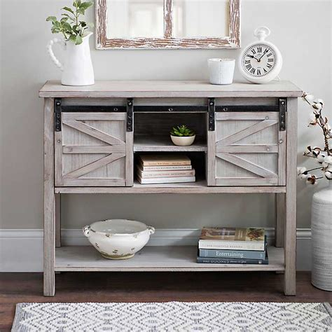 console table with glass doors sliding door farmhouse console table kirklands