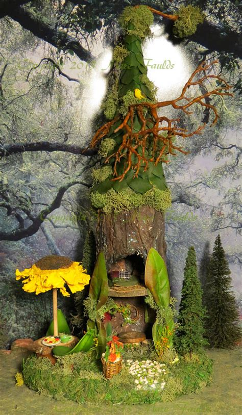decorative fairy tree house with 3 fairy figurine outdoor fairy house woodland fairies sunflower by woodlandfairyvillage