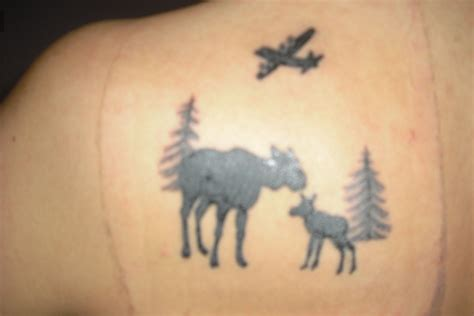 moose tattoo and baby moose with c130 my newest tattoos