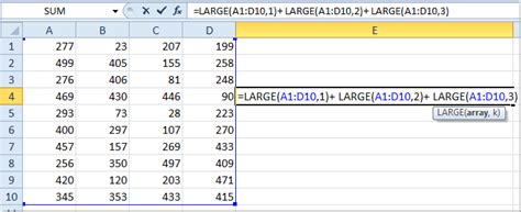 how to sum largest or smallest 3 values in a list of excel
