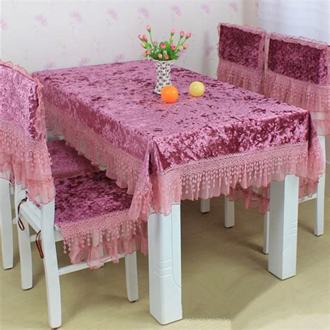 Dining Table Chair Cover Rustic Fabric Lace Table Cloth Chair Covers Set Tablecloth Fashion Gold Velvet Dining Table