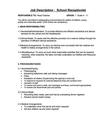Receptionist Skills by Receptionist Description Front Desk Receptionist Description Free Word Format