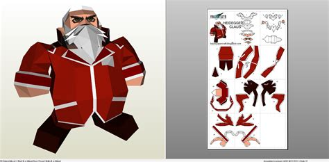 Papercraft Santa - papercraft pdo file template for