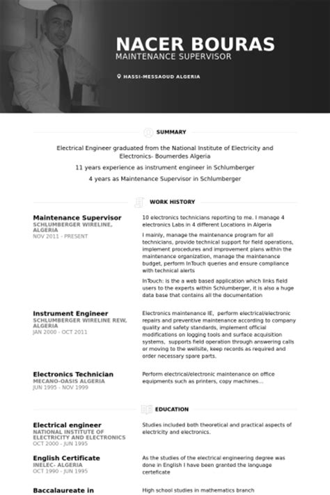 Electrical Supervisor Sle Resume by Maintenance Supervisor Resume Sles Visualcv Resume Sles Database