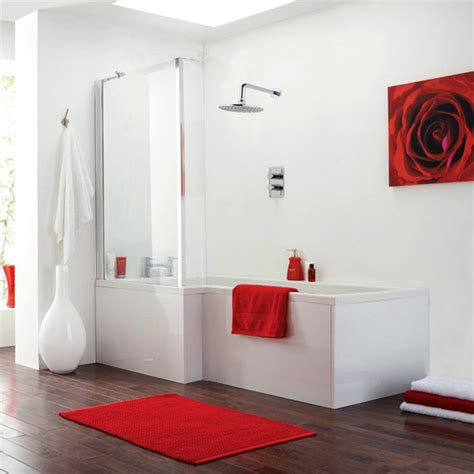L Shaped Shower Bath Suites modena square shower bath amp fixed screen left hand