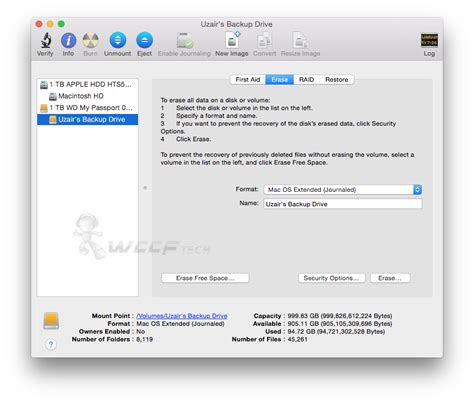 format external hard drive as mac os extended journaled how to erase change format of usb external hard drive