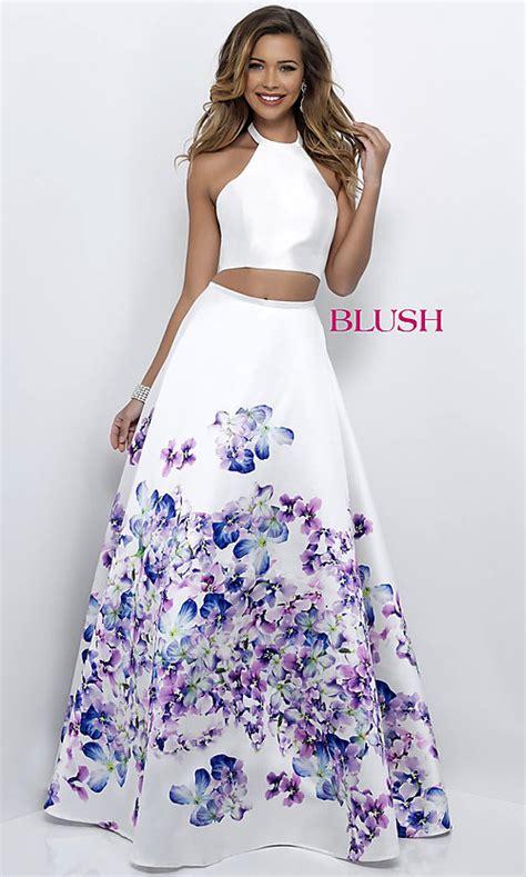 print  white  piece blush prom dress promgirl