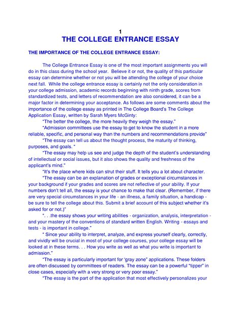 Writing The College Admission Essay by College Essay Layout