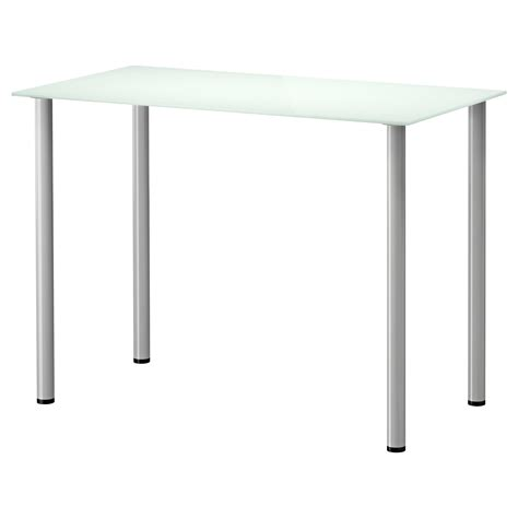 glasholm adils table glass white silver colour 99x52 cm ikea
