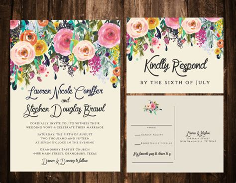 colorful wedding invitation templates bold bohemian floral wedding invitations printable or set