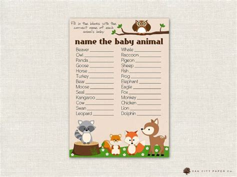 theme names for baby shower name the baby animal baby shower game woodland animal