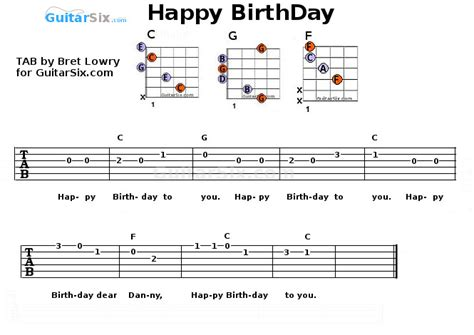happy birthday song chords happy birthday guitar tab