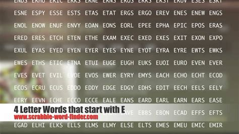 4 letter words beginning with e 4 letter words that start with e youtube
