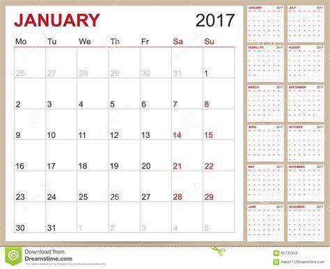 Calendrier Anglais Calendrier Anglais 2017 Illustration De Vecteur Image