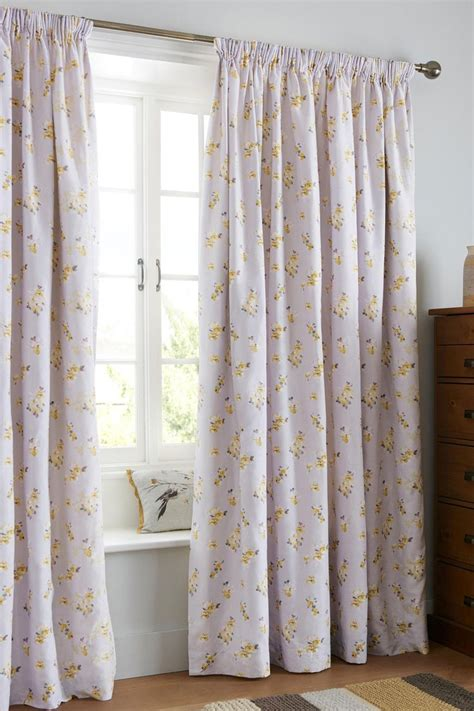 next home bedroom curtains buy cotton sateen ochre watercolour floral pencil pleat