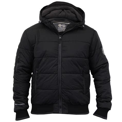Crosshatch Quilted Jacket by Mens Padded Crosshatch Jacket Quilted Fleece Lined Hooded