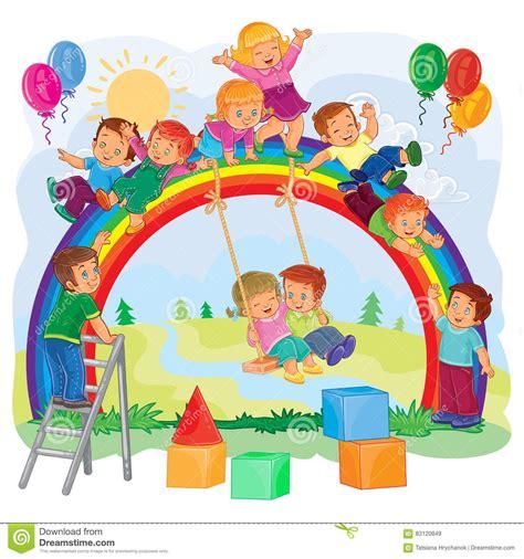 clipart bambini giocano bambini piccoli spensierati giocano sull arcobaleno