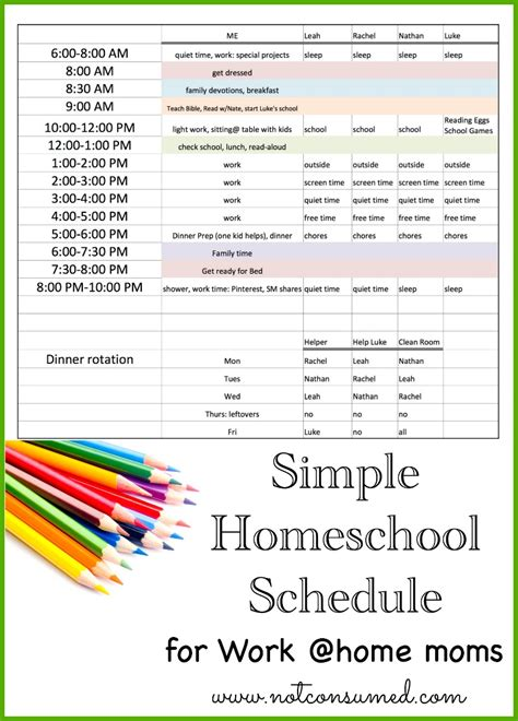 Work From Home Schedule Template simple homeschool schedule for working