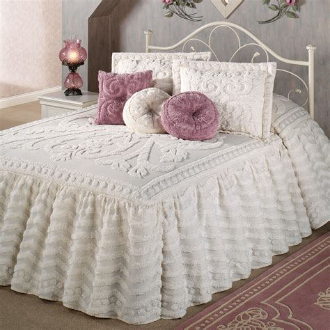 ruffled bedspreads comforters intrigue chenille ruffled flounce oversized bedspread