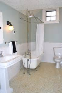 Bathroom remodel penny round floor tiles subway tile wainscoatings